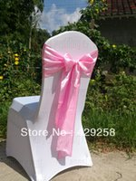 Wholesale Pink Satin Sash Chair Sashes Chair Bow Knot