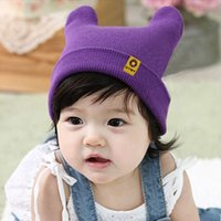 Wholesale 2015 Popular Baby Solid Color Hat Gor Boy Girl Horns Hedging Warm Winter Knitted Children s Cap Elastic Cute Cap Beanies