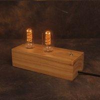 Livraison en gros-Free Edison Table Vintage Lamp l'Europe Double Socket lampe de lecture Lampe de bureau AC 110V-240V Lighting Vintage Avec ampoule