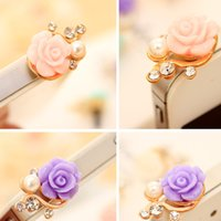 Wholesale Resin Rose Crystal Pearl mm Plug Dustproof Stopper For iPhone Samsung iPod HTC Anti Dust Plug