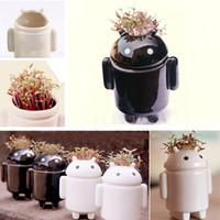 Wholesale Black and White Robot Mini Potting Love Grass Planting Home Decoration Small Bonsai for Room Decals order lt no track
