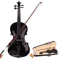 Wholesale High Quality Musical Instrument Full Size Acoustic Violin Fiddle Black with Case Bow Rosin US H5044
