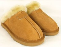 Indoor adult slipper - 2014 new Factory Outlet Australia Classic Women Men Cow Leather Snow Adult Slippers US5 Bag Logo pink sandy chestnut chocolate