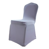Wholesale 10Pcs Universal White Polyester Spandex Wedding Chair Covers for Weddings Banquet Folding Hotel Decoration Decor DHL