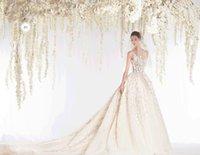 elie saab wedding dresses - Exquisite Spaghetti Applique Flower Wedding Dresses Chapel Train Light Champagne Bridal Gowns Spring Elie Saab
