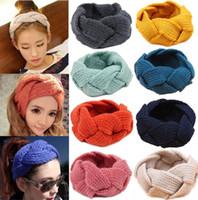 Wholesale 18 Colors Ladies Korean Wool Braid Crochet Headbands Women Fashion Winter Warmer Knitted Headwear Hair band Girls hair accessories