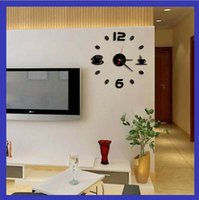 Wholesale DIY Wall Stickers Clock Funny Clock Home Decoration Novelty Kitchen Restaurant Clocks