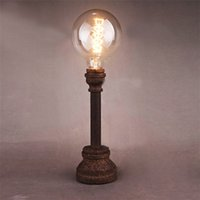 bars work table - Vintage Nordic Table Lamp American Country Wrought Iron Water Pipe Cafe Bar Lamp Corridor Study Room Bedroom Bedside Desk Lamp