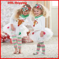 Wholesale DHL Ship Baby Girl Sportswear Suits T shirt Leggings Reindeer Sweater Rainbow Striped Leggings Xmas Outfits Children Clothing JS GD003