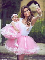 apple family - 2016 Tutu Skirt Mother Daughter Dresses Pink Summer Beach Lace Fluffy Short Family Clothing Cheap Sale Party