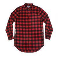 Wholesale Man Women Two Side Extended Zipper Shirt T Shirt Hip Hop Street wear Plaid Casual Shirt