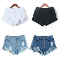 Cheap Blue Mid Waist Ripped Hole Pockets Tassel Straight Button Fly Casual Fashion Women Summer Denim Jeans Shorts free shipping