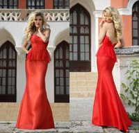 Cheap Spring 2015 Red Lace Applique Mermaid Evening Dresses Low Backless Sweetheart Long Prom Gowns Ruched Peplum Floor-Length Roberto Motti