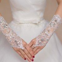 Wholesale Beaded Crystal Long White Fingerless Bridal Wedding Gloves for Brides Women gants mariage guantes mujer luvas de noiva