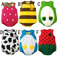 baby boy bee costume - Summer New Baby Rompers Sleeveless Vest Romper Forg Bee Strawberry penguin Baby Costume Newborn Boys Girls Clothes