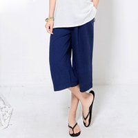 Plus size cropped linen trousers