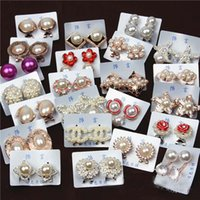 Wholesale 40Pcs Pairs X pearl flower star stud earrings mixed designs colors
