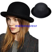 Wholesale Fashion Vintage Woman Wool Cloche Hats Cap Winter Elegant Plain Bowler Derby Small Fedoras Hat for women lady