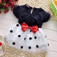 children fashion garment - 2015 NEW children clothing Dot dot kids garment fashion organdy girls dress short sleeve bowknot child dresses age ab1010