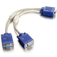 Wholesale 6 Inch Male To Dual Female PC VGA HD15 Monitor Y Splitter Adapter Cable F1741 W0 SYSR