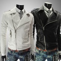 Wholesale new men s jackets personalized pu leather multi zip men s lapel short paragraph Slim leather diagonal zipper pamphlets white coat