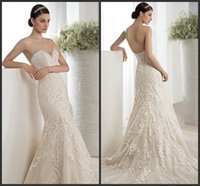Cheap Ivory Strapless Sheath Wedding Dresses 2016 Demetrios Beaded Sweetheart Neckline Custom Lace-Up Back Lace Sweep Train Bridal Gowns A09