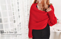 Wholesale Women Warm Infinity Scarf Soft Knit Long Wraps Shawl Scarves With Sleeve Colors Choose