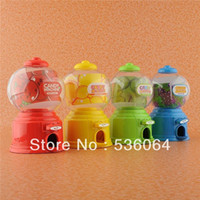 Wholesale 4pcs Mini Candy Gumball Vending Machine Saving Box Coin Bank Child Toy Gift Blue Hot Freeshipping