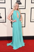 ashley purple - 58th GRAMMY Awards Ashley Monroe Red Carpet Evening Dresses Sexy Keyhole Neck Chiffon Teal Long Ceremony Prom Pageant Gowns