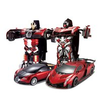 rc control robot - RC Transformation Electric Toys One Key Remote Control Car Bumblebee Optimus Prime Bugatti Action Figures Class Boys Gifts