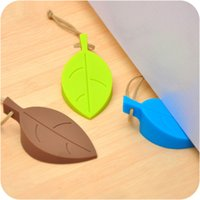 Wholesale Convenient Silicone Silicone Leaves Decor Design Door Stop Stopper Jammer Guard Baby Safety Home For Children green