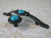 antique turquoise furniture - Shabby Chic Dresser Knob Drawer Pulls Handles Knobs Antique Black Turquoise Blue Kitchen Cabinet Door Handle Pull Furniture
