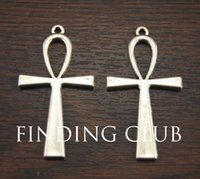 ankh rings - cross Vintage Silver x54mm Egyptian Ankh Cross Connector Pendant A1019