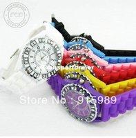 Wholesale Candy Jelly Silicone Geneva Diamond Sports Fashion Quartz Watch For MEN WOMEN