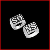 Wholesale Pair Sons Of Anarchy Jax Teller SO SN finger ring retro letter Silver Plated band rings for men punk statement hip hop jewelry