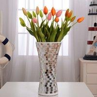Wholesale Mosaic sallei mirror glass vase crafts wedding supplies decoration fashion