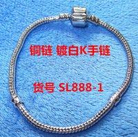 Bracelet dora Snake Chain pan estampillé Pandora logo blanc mode K amour logo bracelet homard fermoir Charms Fit européennes perles chaîne de Pandora