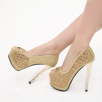 gold spikes - 2015 Ready to Ship Gorgeous New Arrival Peep tow Gold Bridal Shoes High heels Spikes with Sequins Crystals