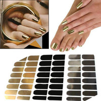 Wholesale New punk rock styles metal colour gold or silver nails art stickers DIY decorations foils wraps16Pcs Sheet nail tools FMHM024 S1