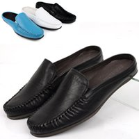 Wholesale 2015 men s fashion Baotou slippers without heel slippers breathable leather casual comfortable sandals and slippers drag