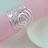 Wholesale 60pcs Hollow Flower Napkin Rings Serviette Tablewear Holders Wedding Party Hotel Table Decoration wa153d