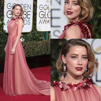 amber jewel - New Trendy Pink Amber Heard Flower Tulle Long Evening Gowns Golden Globe Award Floral Celebrity Dress O neck Fashion Red Carpet Dresses