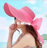 Wholesale Fashion Big Straw Beach Hats With Bow Ladies Wide Brim Floppy Foldable Sun Hat Women Rhinestone Caps Elegant Kentucky Derby Visors Colors