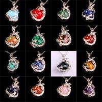 reiki jewelry - 16X Mix Natural Gem Stone Bead Super Saiyan Dragon Ball Reiki Pendulum Pendant Charms Amulet Metal Silver Plated Classic Jewelry