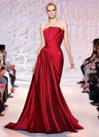 Wholesale 2015 New Arrival Zuhair Murad Evening Dresses Strapless Mikado Dress with an Accordion Fold Draped Bodice in Crimson Prom Dresses Party