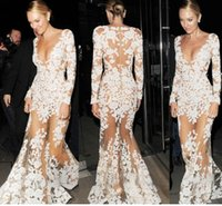 Wholesale 2015 New Cheap Sexy Women V neck White lace Mermaid formal Party Celebrity Runway Prom Dresses Sexy Hollow Out Wedding Long Evening Dress