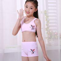 children tank tops - JUNIOR Girls Underwear set including training Bras and boxer Children Sports Camisole Undies Underwear Vest Student Cosy Undies set to Y