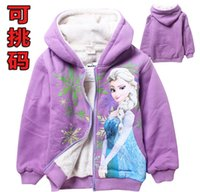 Jackets baby girl fleece jacket - autumn winter Frozen girl Long Sleeve hoodies children coat clothing Coral fleece children cartoon top kids baby jacket T ESY53
