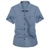 band collar shirts for men - Short Sleeve Linen XL Shirts For Men Button Up Banded Collar Shirts Casual Summer Gray Red Blue Khaki New Stylish Design