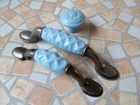 Furniture antique drawer pulls - Blue Dresser Knobs Drawer Knob Pulls Handles Ceramic Kitchen Cabinet Door Knob Antique Black Furniture Knob Pull